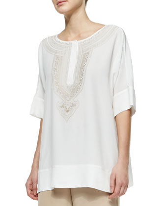 Embroidered Silk Tunic, Petite