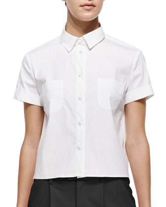 Short-Sleeve Cropped Poplin Shirt