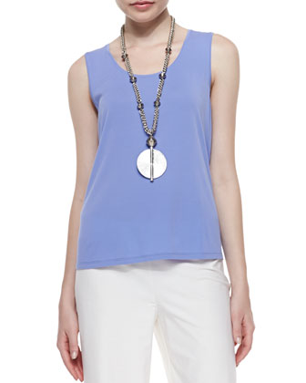 Stretch Silk Jersey Tank, Plum