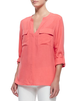 Two-Pocket Silk Tunic, Petite