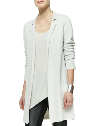Silk-Cotton Interlock Long Drama Jacket, Silk Asymmetric Draped Shell & ...
