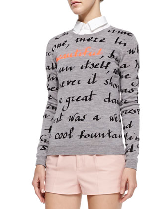 Long-Sleeve Poem Pullover, Short-Sleeve Cropped Poplin Shirt & Stretch ...