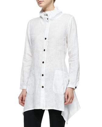 Ruffle-Collar Linen Drama Big Shirt, Petite