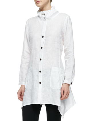 Ruffle-Collar Linen Drama Big Shirt, Women's