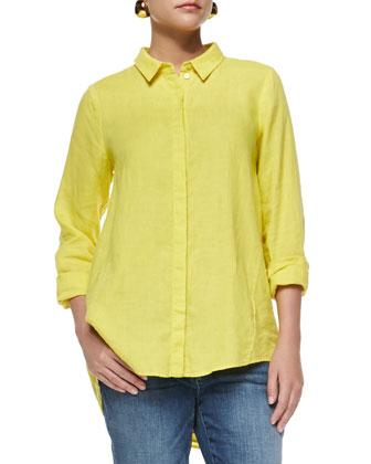 Organic Handkerchief Linen Shirt & Stretch Boyfriend Jeans, Petite