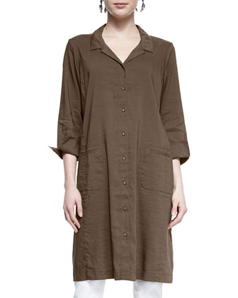 Linen Viscose Stretch Shirtdress, Petite
