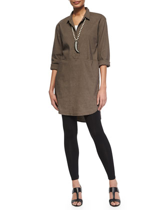 Linen Viscose Stretch Shirtdress & Washable Crepe Slim Ankle Pants