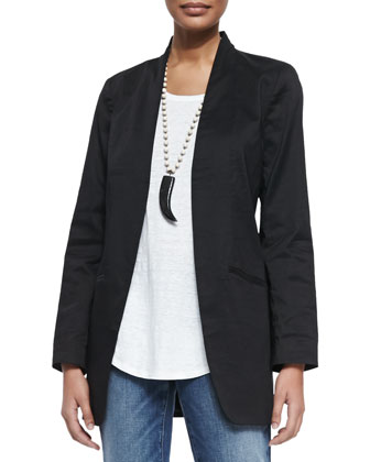 Long Polished Ramie Jacket & Slim Stretch Ankle Jeans, Women's
