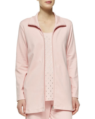 Long Interlock Zip Jacket, Petite