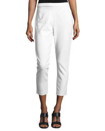 Ponte Slim Ankle Pants, White