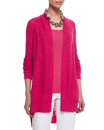 Linen-Cotton Slub Cardigan, Women's