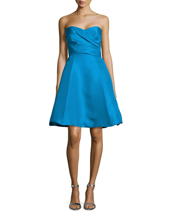 Strapless Pleated Bodice Flared Dress