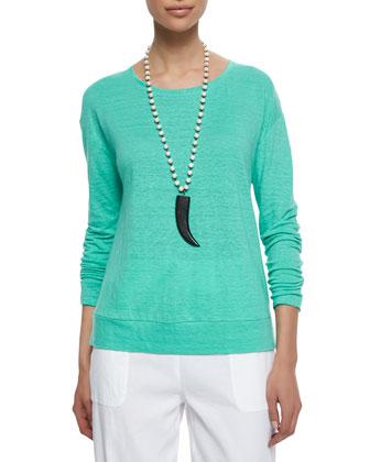 Linen Jersey Box Top & Drawstring-Waist Slouchy Capri Pants, Petite