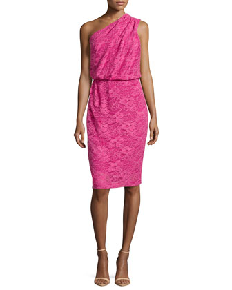 One-Shoulder Lace Dress, Orchid