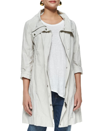 Rumpled Metallic Cotton Jacket, Organic Linen Peaked-Hem Tee, Chambray ...