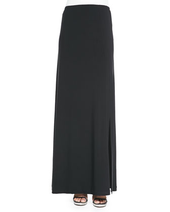 Stretch Knit Maxi Skirt, Black