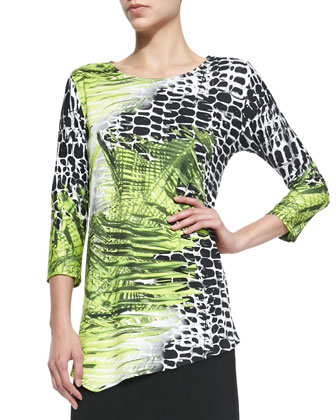 Crocodile Twist 3/4-Sleeve Top, Petite