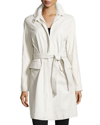 Zip-Front Lambskin Leather Trench
