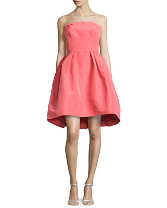 Strapless Silk Faille Full Skirt Dress