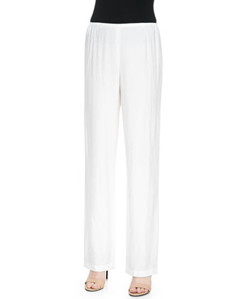 Cabo Knit Straight-Leg Pants, White, Petite