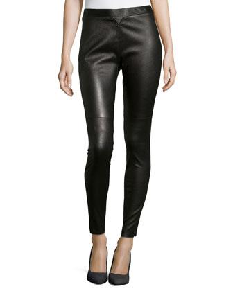 Lambskin Leather Side-Zip Leggings