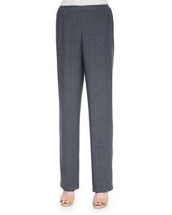 Cabo Crinkle Mandarin-Collar Jacket, Tank & Straight-Leg Pants, Petite