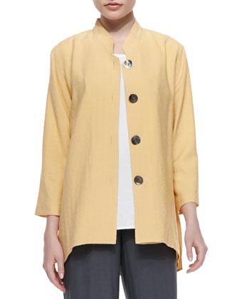 Cabo Crinkle Mandarin-Collar Jacket, Petite