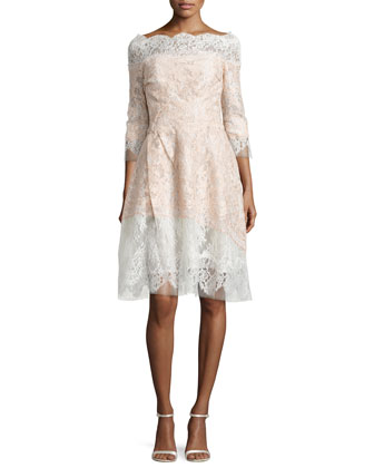3/4-Sleeve Bonded Lace Dress