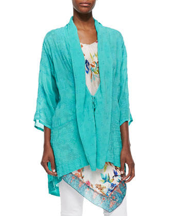 Meadow Eyelet Kimono Jacket, Hummingbird Silk Georgette Long Tunic & Eli ...