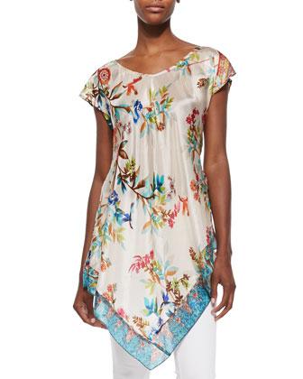 Hummingbird Silk Georgette Long Tunic