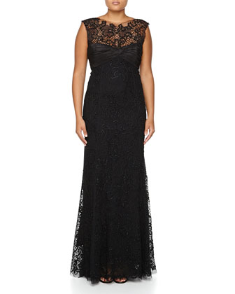 Sequined Lace Gown W/ Taffeta Train