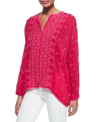 Chloe Boxy Button-Front Shirt & Flair Twill Printed Silk Scarf, Women's