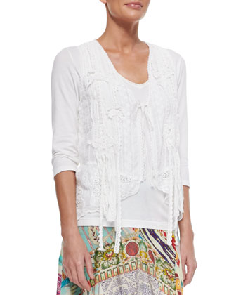 JWLA for Johnny Was 3/4-Sleeve V-Neck Tee, Floral Crochet Vest & Mix ...