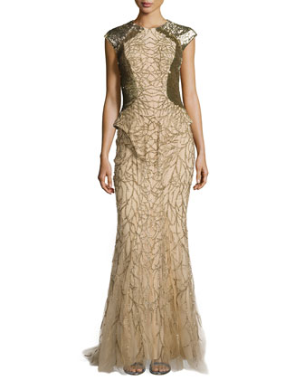 Embellished Tulle Fishtail Gown with Sequined Panels