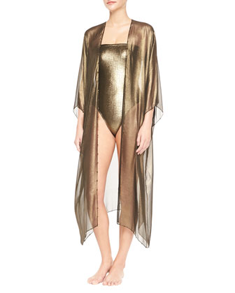 3/4-Sleeve Hand-Embroidered Babani Coverup & Rafia Metallic Bustier ...