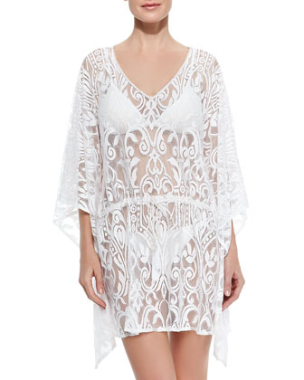 V-Neck Lace Caftan Coverup