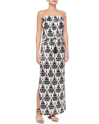 Strapless Baroque-Print Maxi Dress
