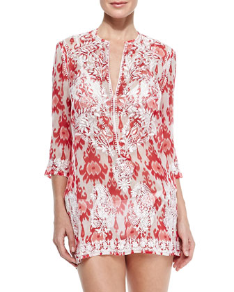 Embroidered Sheer Silk Short Coverup Tunic