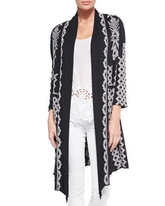 Tracy Draped Long Jacket, Saige Eyelet Tank & Silk Georgette Square Scarf, ...