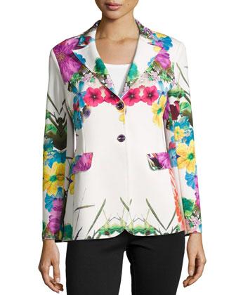 Flower-Print Pop Jacket, Petite