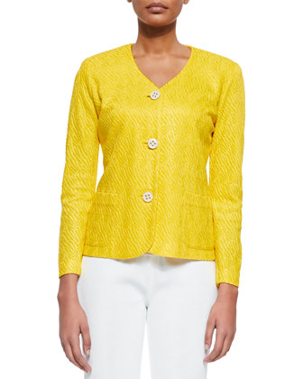 Textured 3-Button Jacket, Tahiti Yellow, Women's
