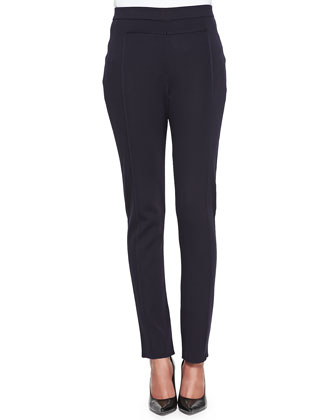 Seamed Slim Pants, Navy, Petite