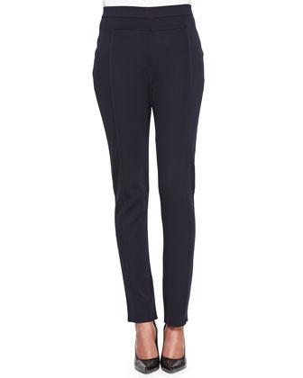 Seamed Slim Pants, Navy, Petite