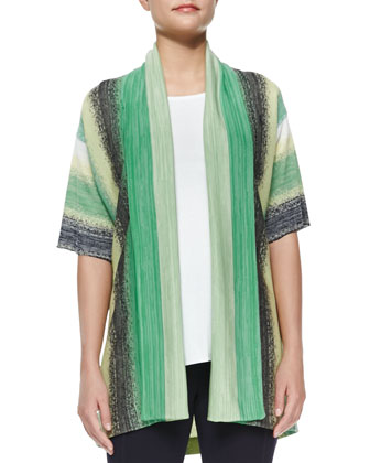 Vertical Striped Short-Sleeve Cardigan, Women's
