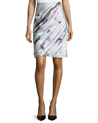 Bias-Cut Silk Skirt with Side Ruching