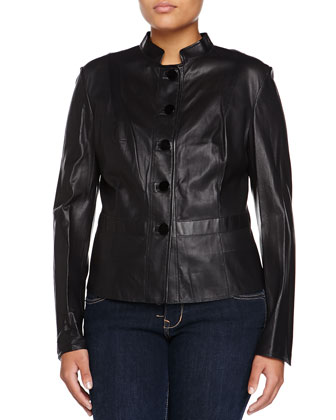Lamb Leather Peplum Jacket