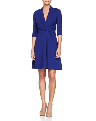 V-Neck Wrap-Front Jersey Dress