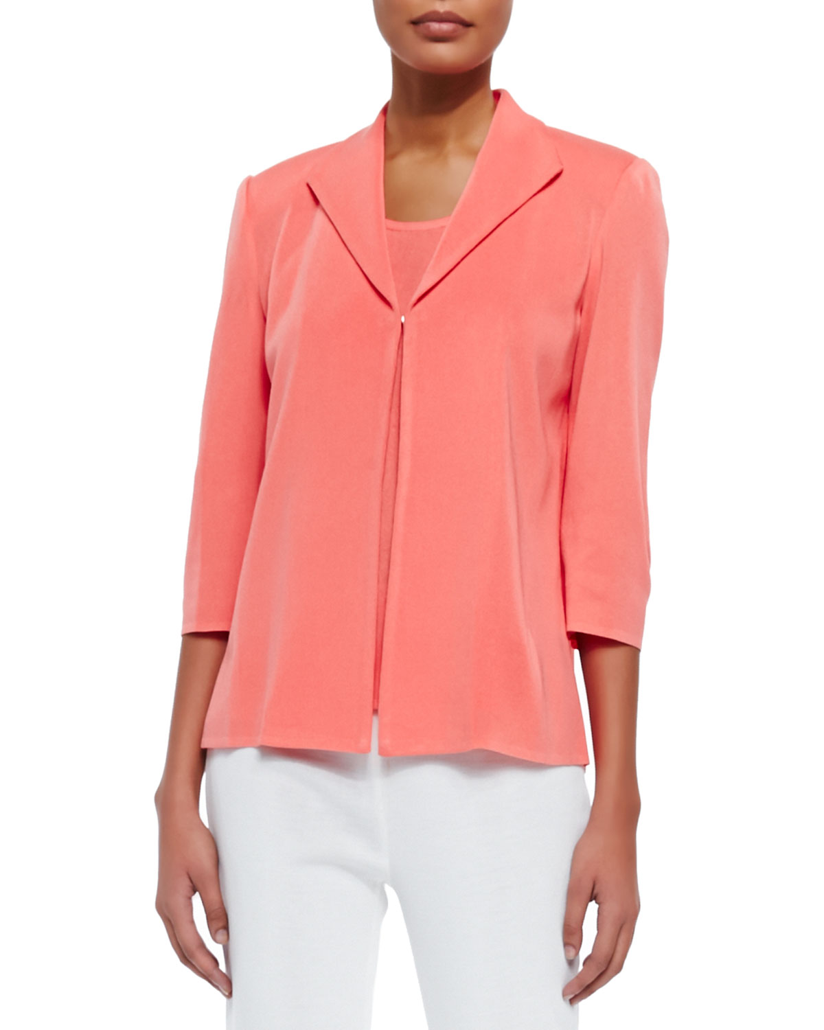 3/4-Sleeve Jacket, Coral, Women's - Misook - Coral (0X)