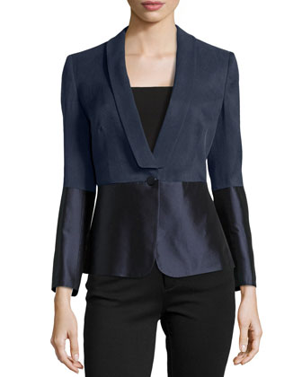Textured Single-Button Navy Jacket