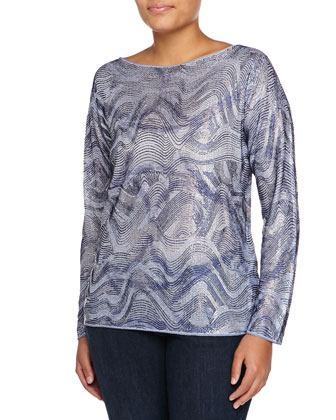 Wave-Print Pullover Sweater